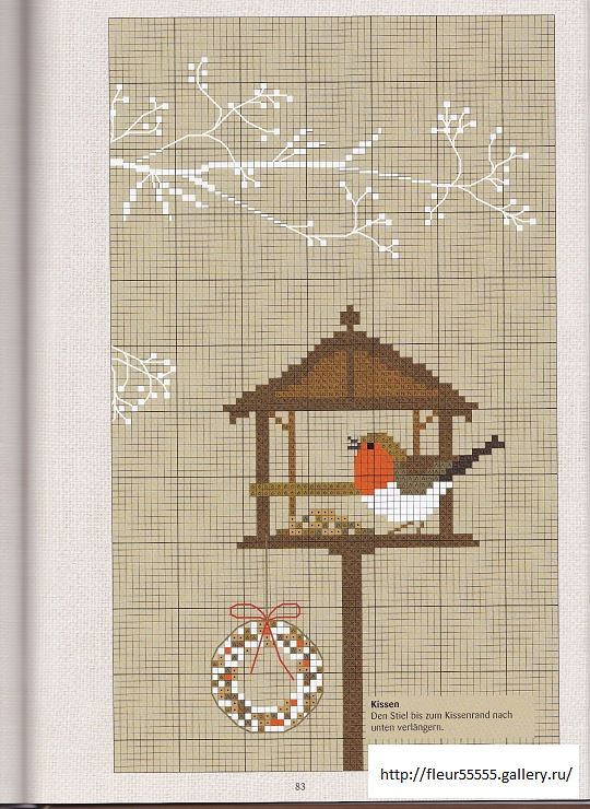 Winter/Christmas bird feeder cross stitch - free Love the branch above feeder