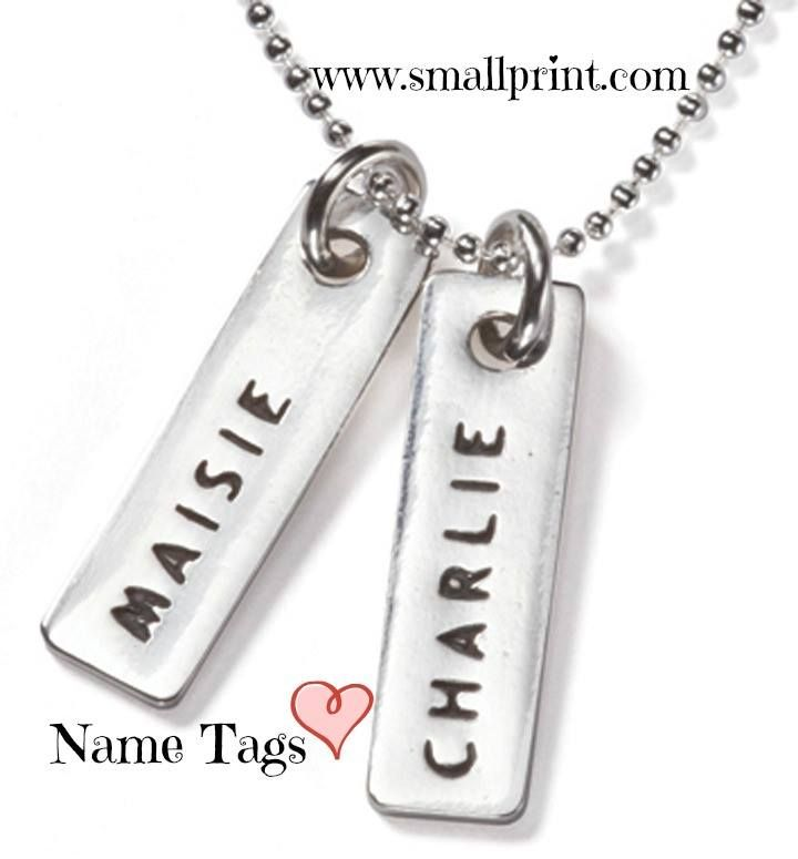 Name Tags on Ball Chain by Smallprint. www.smallprint.com - The Perfect Mother's Day Gift <3