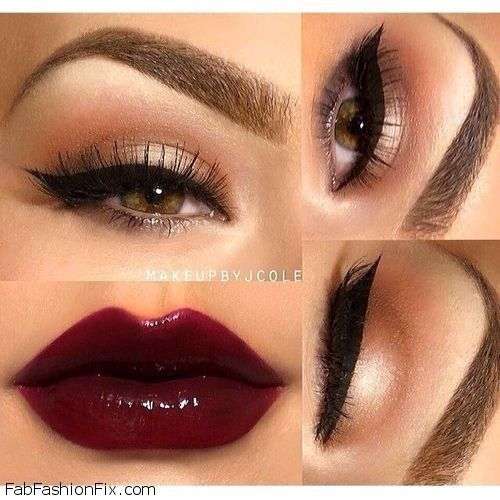 Dark red lips and cat eyes makeup look - possibilities, possibilities