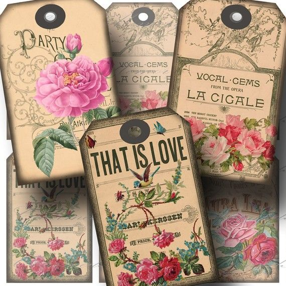 Rose Gift Tags Digital Collage Sheet  by CharmedMemoryCollage