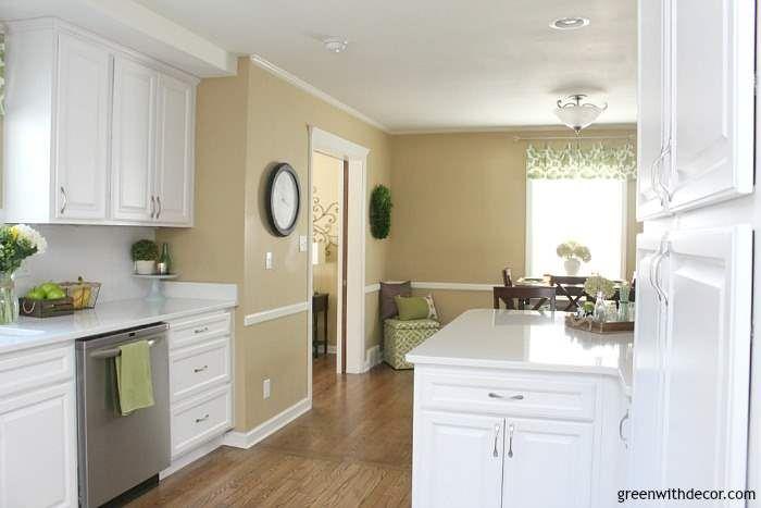 Tour Our Milwaukee House Green With Decor White Kitchen Renovation Gorgeous White Kitchen Tan Walls