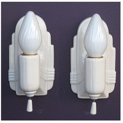 157 best vintage bathroom light fixtures images on pinterest - White porcelain bathroom fixtures ...