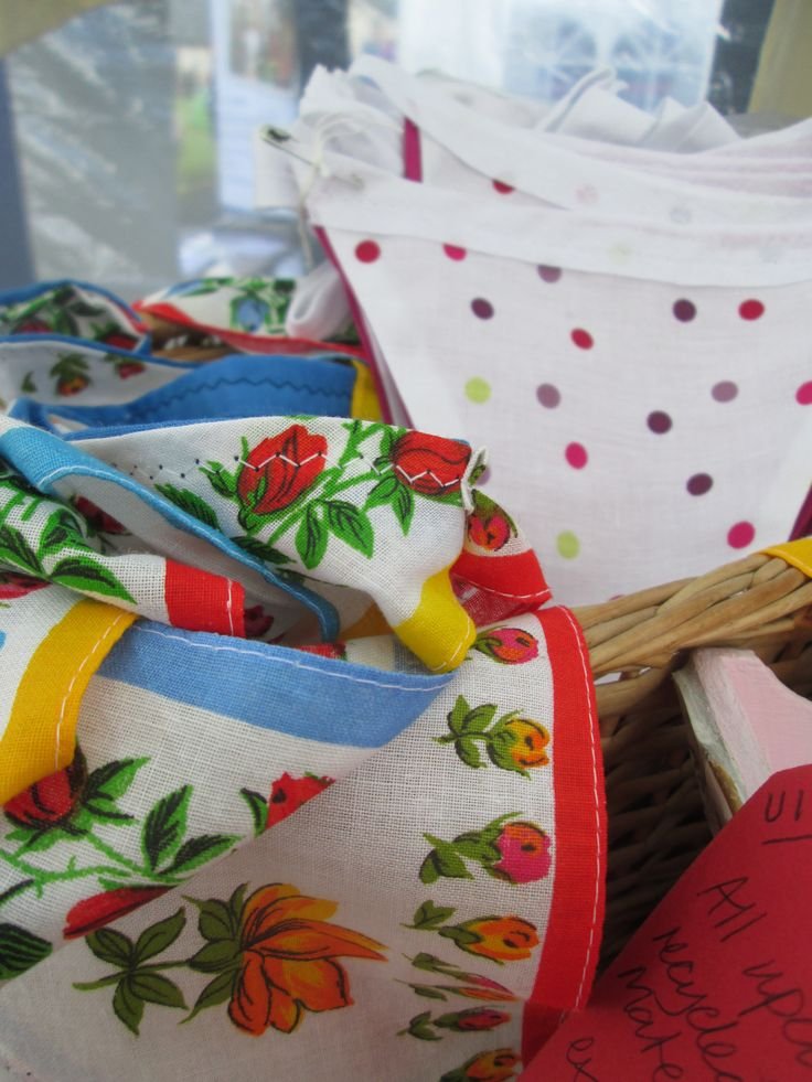 We love our bunting on Arran and we use vintage hankies and recycled fabric to keep it all fresh.