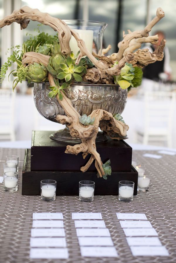 Driftwood bar design but with clusters of yellow blooms and sections with pink groupings. Votives would also be added to the bar table.