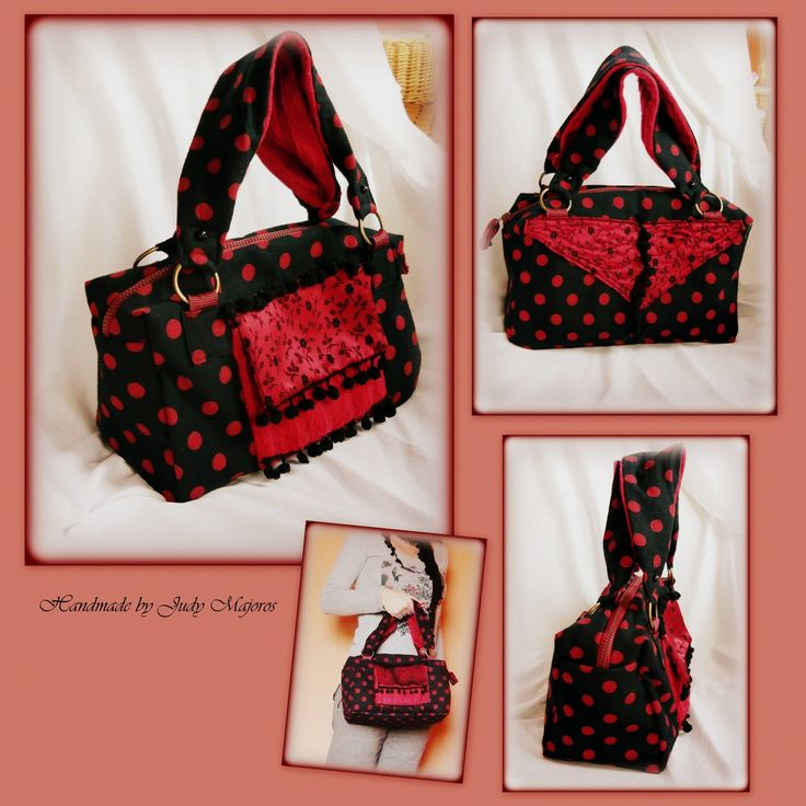 Handmade by Judy Majoros - Black-red polka dots handbag. Floral satin. Recycled bag