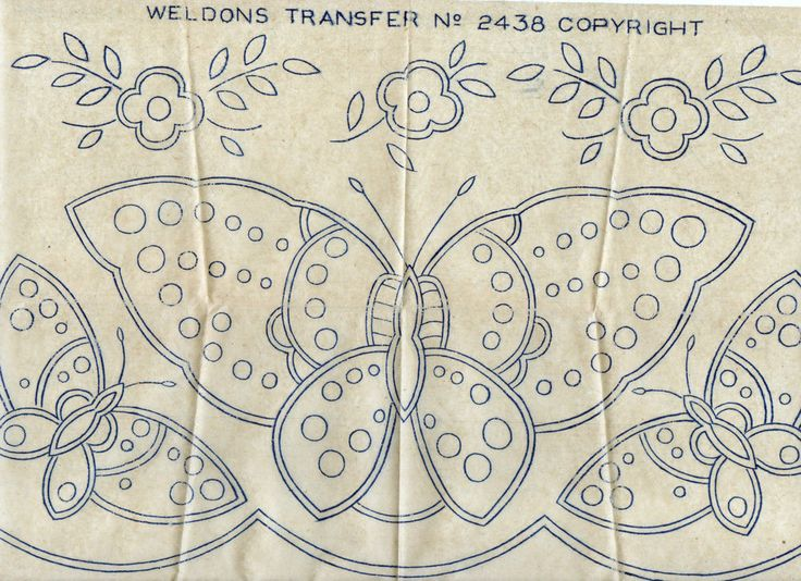VINTAGE EMBROIDERY TRANSFER - BUTTERFLY & FLOWER  MOTIFS