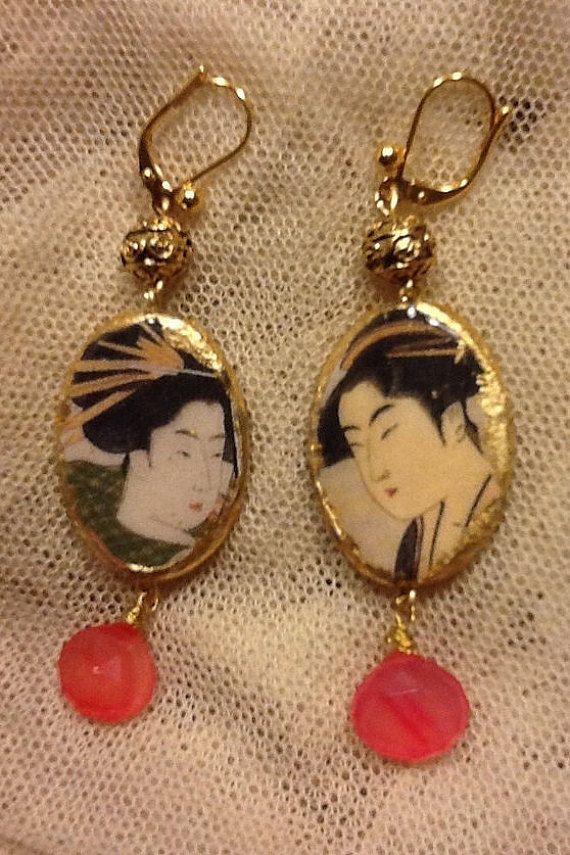 orecchini con foglia oro. Geishe di LaRanaGelsomina su Etsy
