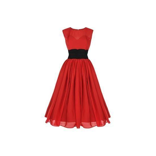 Retro šaty Lindy Bop Serena Red Šaty ve stylu 50. let. Krásné výrazně červené barvy se zvýrazněným pasem, lehký materiál, vespod jakoby zpevňující korzet, aby vaše vnady lépe vynikly a přitom vše zůstalo zahaleno. Doporučujeme se spodničkou, která dodá šatům dokonalý objem.