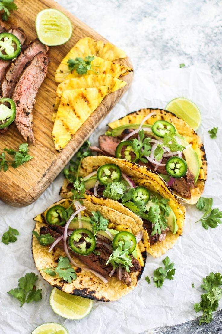 Enjoy summer with this Grilled Pineapple and Flank Steak Taco recipe.