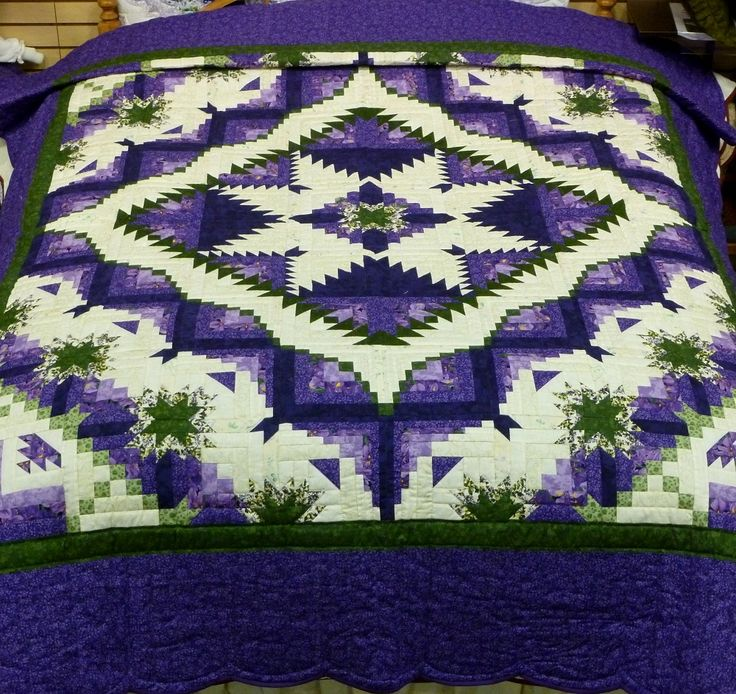 Eureka Quilt E151 Queen 92x112 Purple Green Star