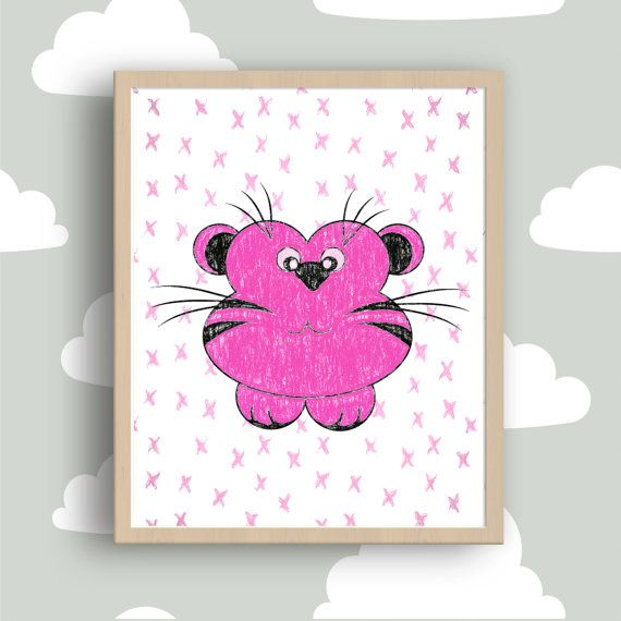 Children pink Animal Pink kids wall decor Pink by MyGalleryWall