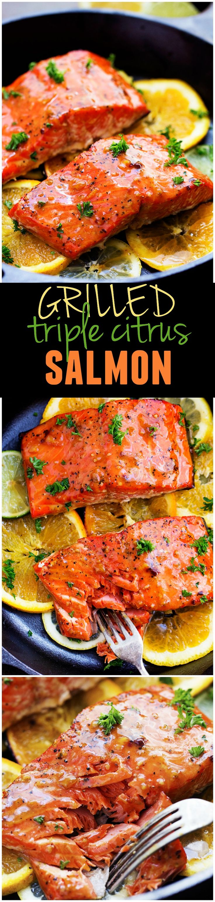A five star salmon recipe that gets infused with a lemon, lime and orange marinade. It grills to tender and flaky perfection and has the best sweet and tangy flavor!