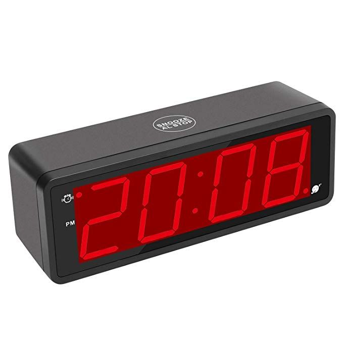 """Kwanwa Digital Alarm Clock Large Display With 1.8/"""" LED Numbers Battery Operated"""