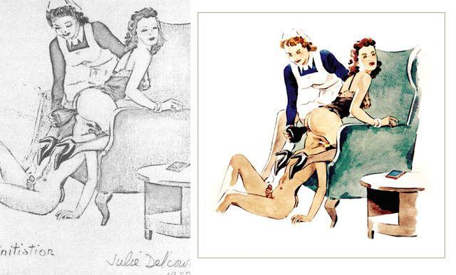 Nurse spanking boy draws