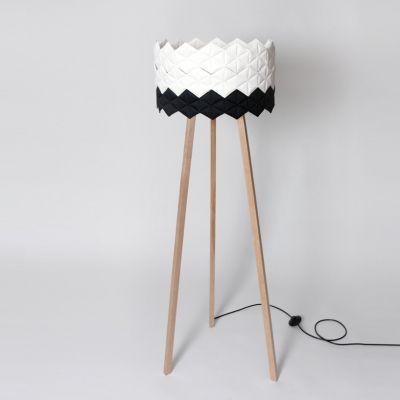 kukka/03 — lampa stojąca, abażur biało-czarny // NIE/BO Design