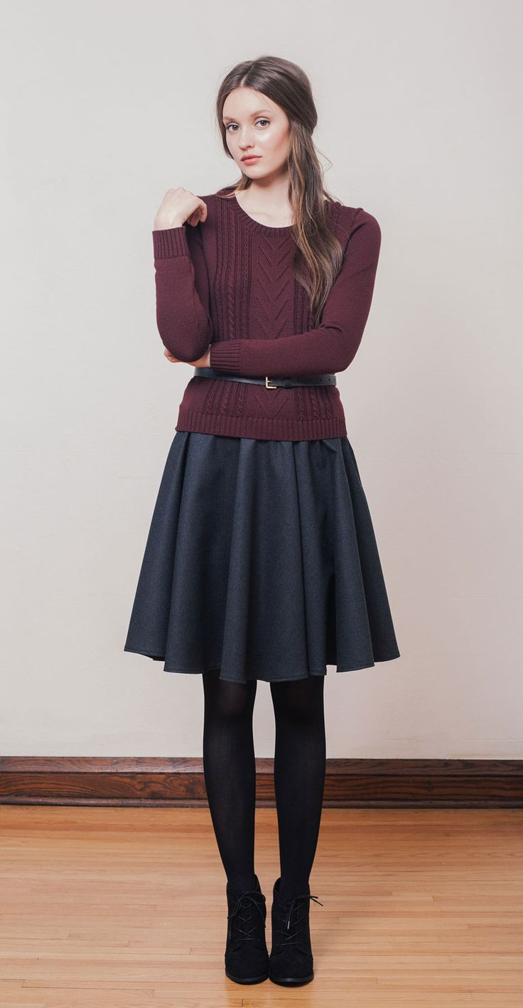 MILAN Burgundy: Long-sleeved knit sweater in Italian merino wool knit in Montreal. EVA Charcoal: High-waisted gored skirt in wool. Betina Lou Fall-Winter 2014-15.