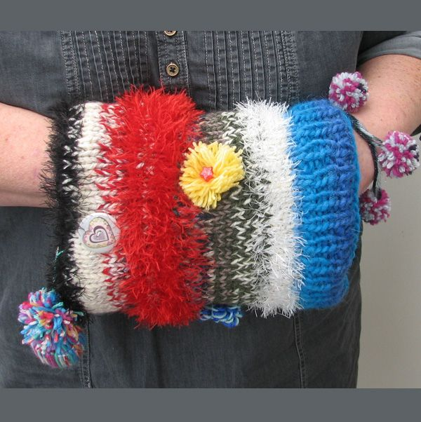 Knitted and Crocheted SensoryMitt with embellishments