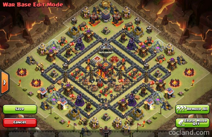 The Multi-Square War Base for TH10 - http://cocland.com/base-designs/the-multi-square-war-base-for-th10