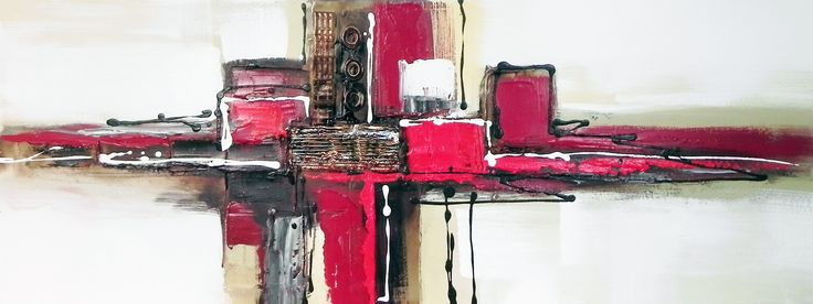 Toile panoramique abstraite grise et rouge. A partir de 59 € en 30/90 cm. Huile sur toile sur châssis.  http://www.peintures-sur-toile.com/tableau-panoramique-sur-toile-xsl-244_343_413.html