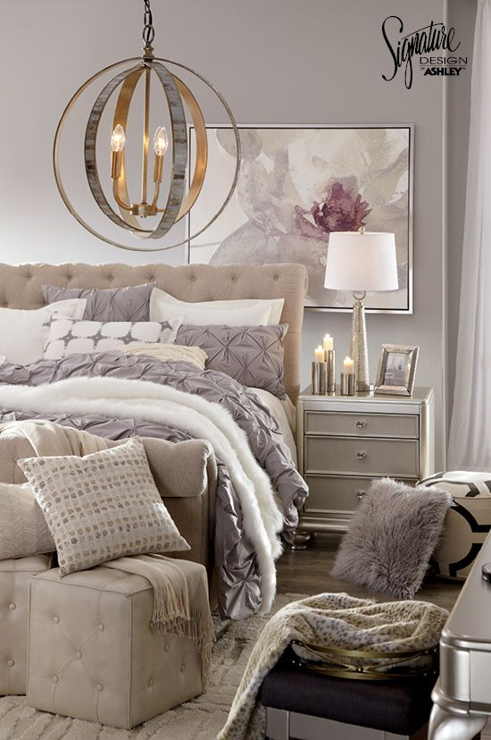 #AshleyFurniture Show off your fancy side with this Hollywood glitz-and-glam inspired bedroom! Start with the Willenburg upholstered bed featuring button tufting in a classic neutral color. Then, add classic accessories in shades of gray, black and white! Ashley Furniture - Bedroom Furniture - Master Bedroom