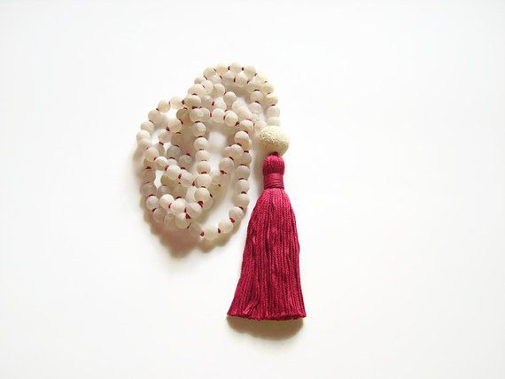 Hand knotted white agate mala necklace by Aella Jewelry