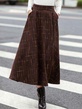 ハイウエストツイードポケットA字ロングスカート