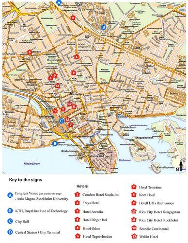 Stockholm City Center Map. To obtain larger size or download, click on the image.