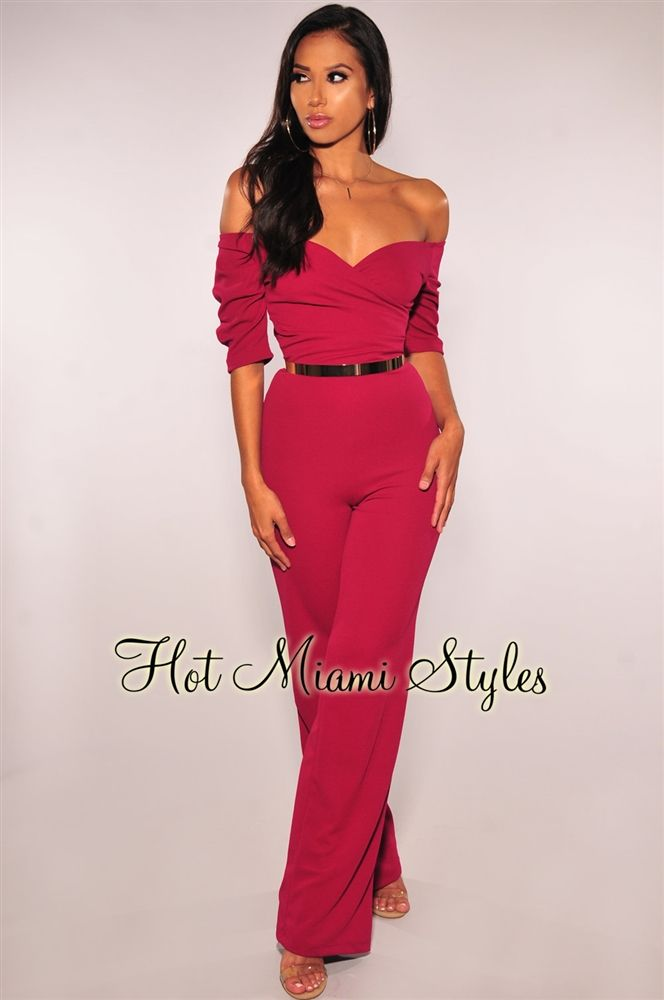 d704ca8a70f Magenta Faux Wrap Off Shoulder Jumpsuit in 2019