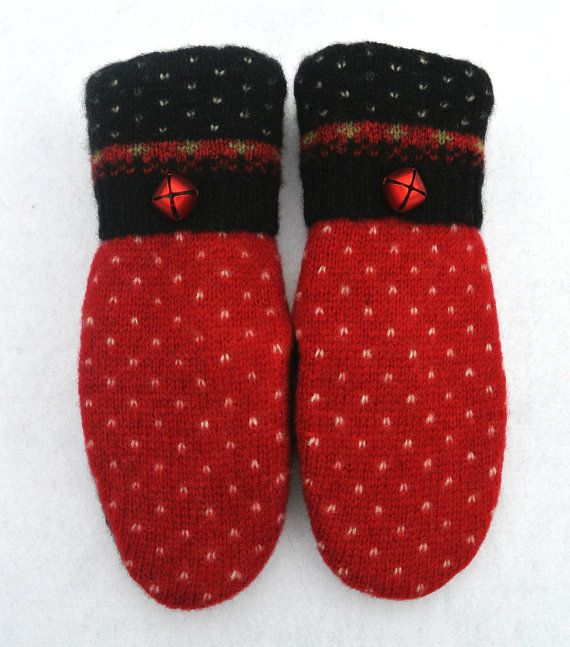 100% WOOL WOMEN'S Recycled Sweater Mittens Red by MadAboutMittens