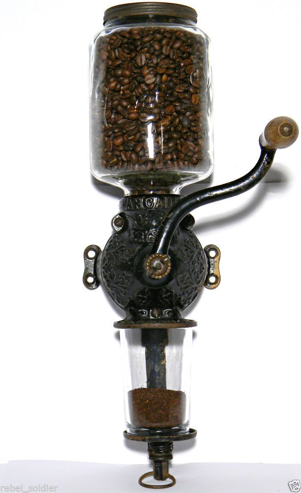 ARCADE # 3 COFFEE GRINDER Antique WALL MOUNT Victorian BURR MILL Maker CAST IRON
