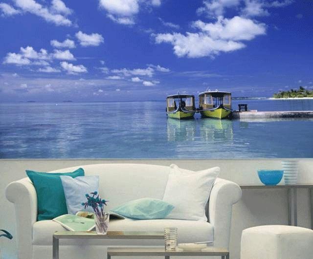 deniz manzaralı  3 boyutlu ev dekorları