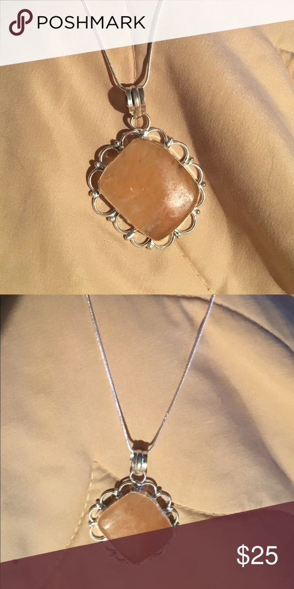 """Clear tan/beige pendant Sterling Silver Chain Tan/beige/brown clear tone pendant, large statement piece On a 18-30"""" Sterling Silver Snake Chain! Msg seller! Jewelry Necklaces"""
