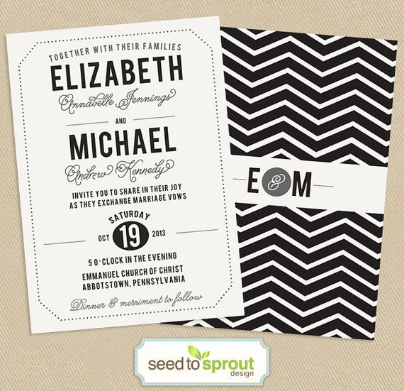 Printable Wedding Invitation Double Sided 5x7 by seedtosprout