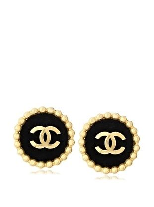 CHANEL Oversized Velvet Button Earrings