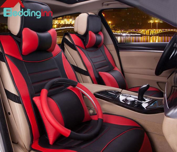 Microfibre Leather Car Seat Cover Auto Covers With Lumbar Support Headrest Steering Wheel Styling Interior Accessory