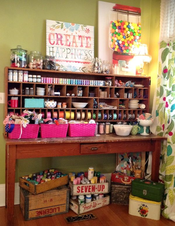 87 best images about craft room decor on pinterest for Corner craft table with storage