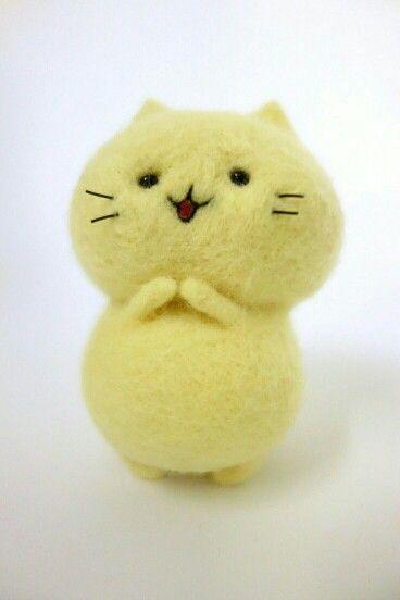 Cute happy kitty ! Yellow & fuzzy!