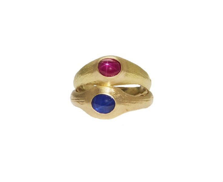 Star Sapphire rings , 18ct gold Senate rings with natural star sapphires by Sian Evans www.sejewellery.com