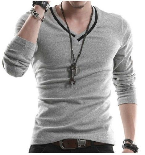 Korea new solid color men's fashion v-neck Slim long sleeve t-shirt T6068