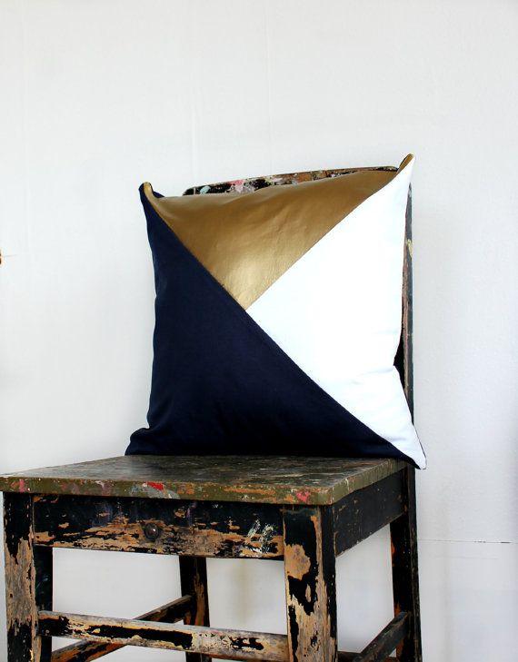 Geometric Navy, White & Metallic Gold Pillow Cover, Gorgeous home decor navy and metallic gold cushion cover. Throw Pillows Cushions