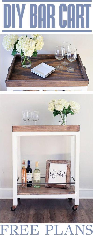 DIY Bar Cart - Woodworking Plans Home Decor