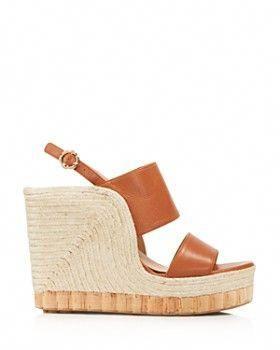 719441be9c1 Salvatore Ferragamo - Women s Leather Slingback Espadrille Wedge Sandals   womensdesignershoes