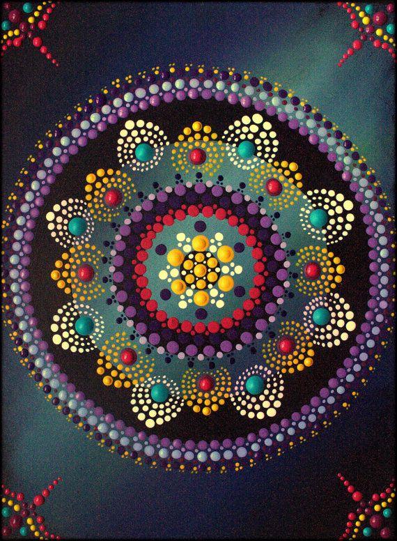 Pintura de Mandala de la flor de loto por por ArtbyKirstyRussell