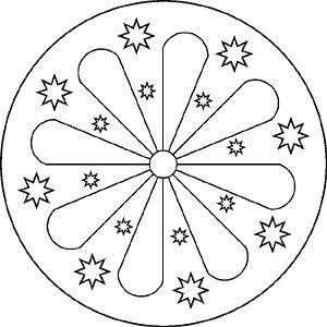 Plantilla Mandala con estrellas