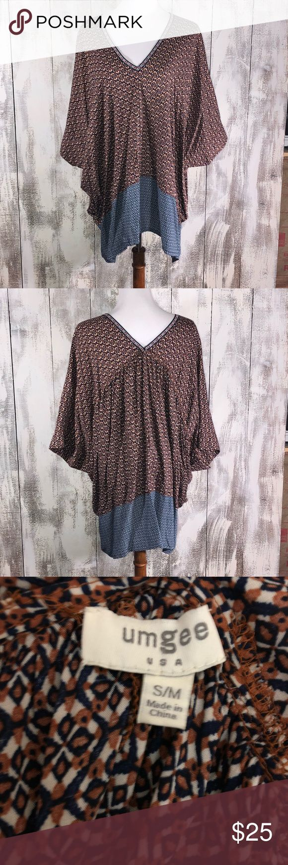 Umgee S/M Oversized Festival Blouse S/M Very Oversized  Pockets Umgee Tops