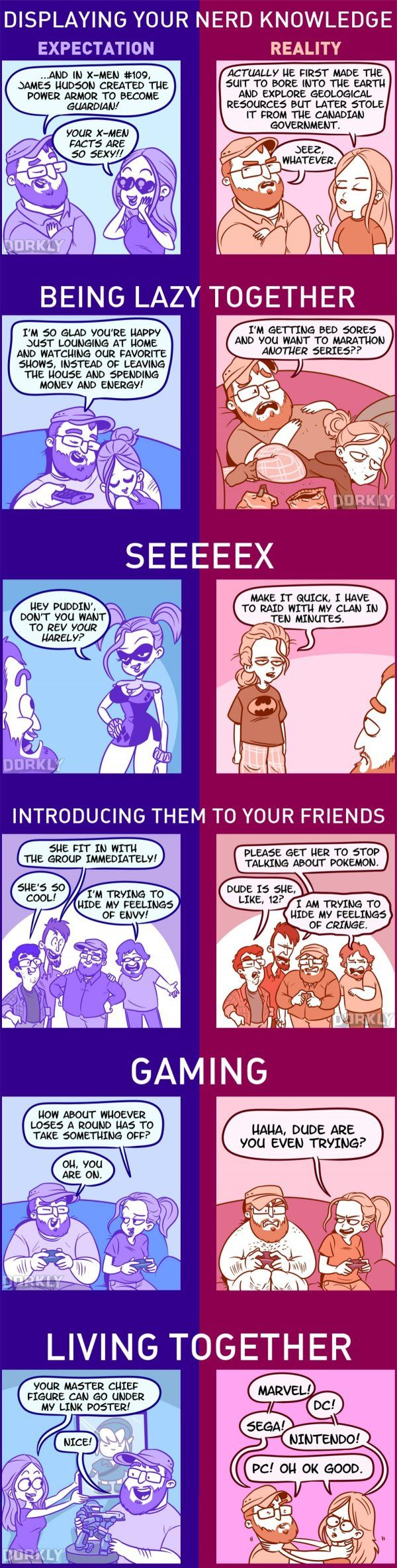 Dorkly Comic: Dating Someone as Nerdy as You: Expectations vs Reality