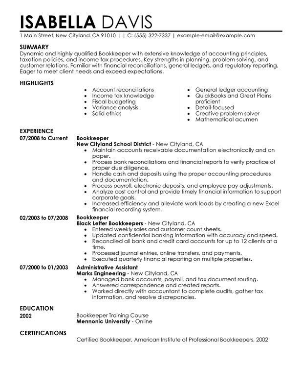 Unforgettable Bookkeeper Resume Examples To Stand Out Myperfectresume Recipe Resume Examples Bookkeeping Accounting Principles