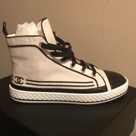 Authentic Chanel high top sneakers