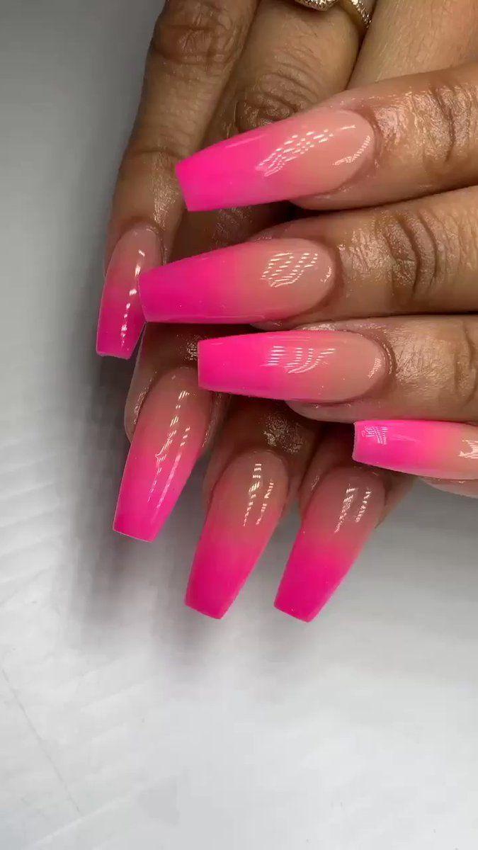 Pink Ombre Nails Ladne Paznokcie Paznokcie Ombre Paznokcie