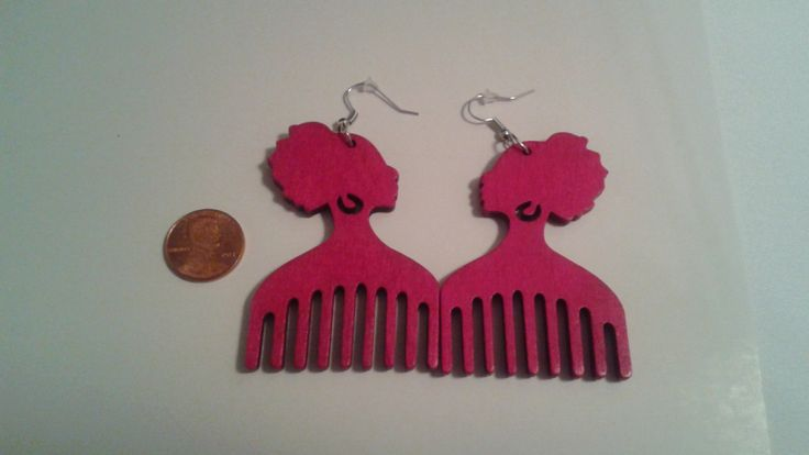READY TO SHIP- Afro Pick Earrings- Wooden Afro Pick Earrings- Afro Pick Lady Earrings- Adinkra Symbol Earrings- Red & Pink Afro Earrings by ImaniEssentials on Etsy